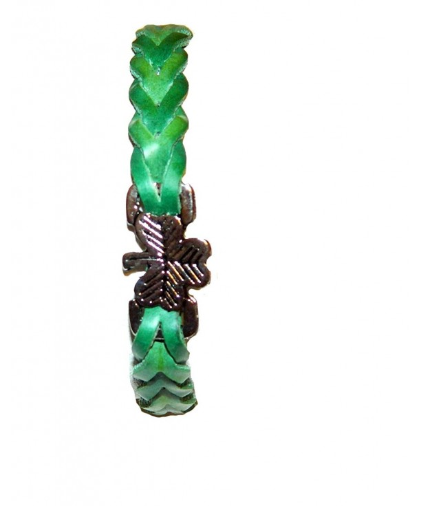Shamrock Pleated Leather Bracelet Green