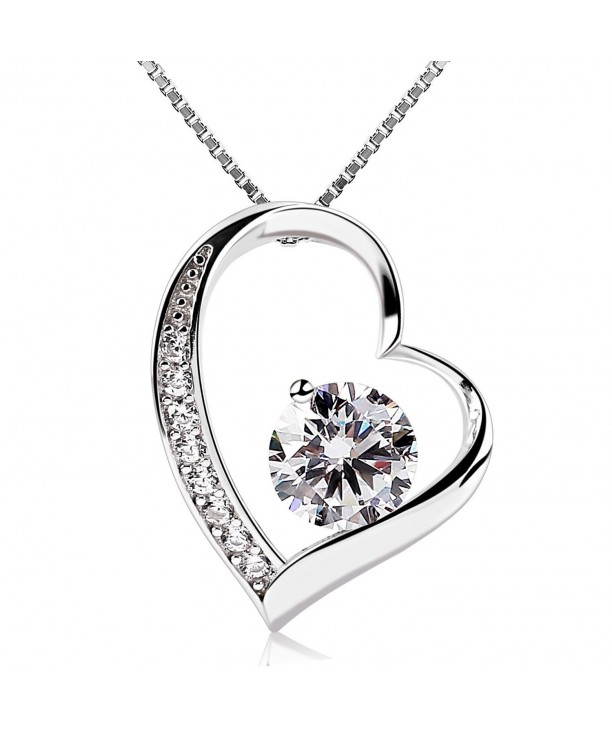 dbe0fcb3a Women Necklace Heart Pendant Necklace 925 Sterling Silver Box Chain ...