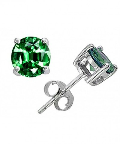 Star Simulated Emerald Earrings Sterling