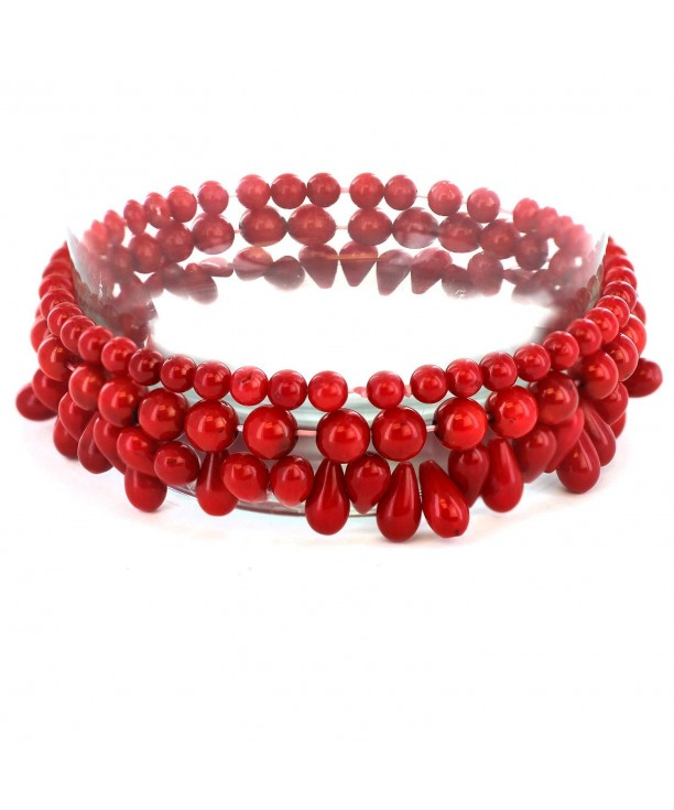 Womens Dyed Coral Beaded Bracelets