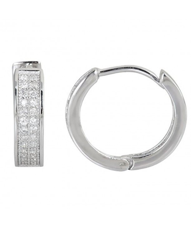 Sterling Zirconia Micropave Huggies sterling silver