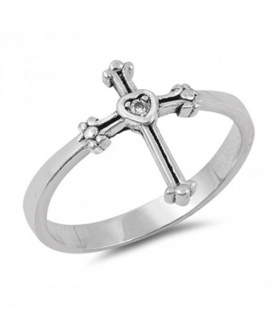 Solitaire Clear Sterling Silver Christian