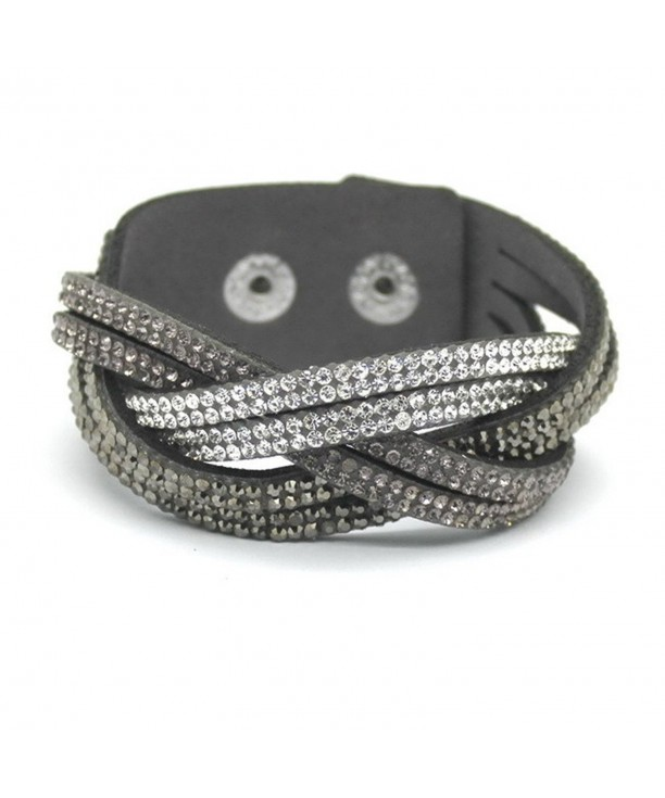 womens Distortion bracelets rhinestone Leather