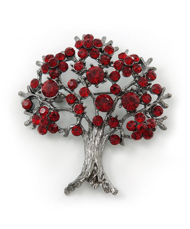 Burgundy Crystal Brooch Metal Finish