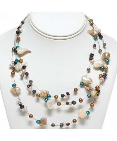 3 Row Multi Color Cultured Freshwater Necklace