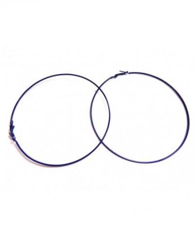 Large Navy Earrings Simple Hoops
