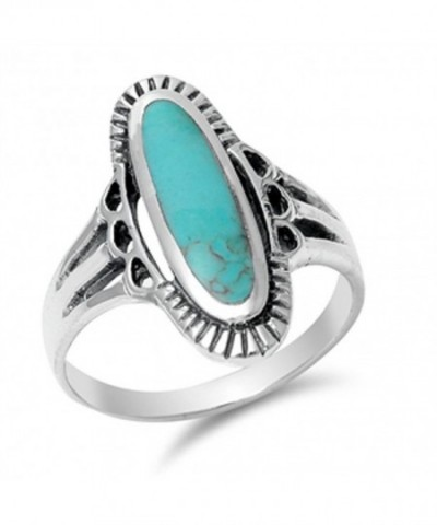 Simulated Turquoise Beautiful Sterling Silver