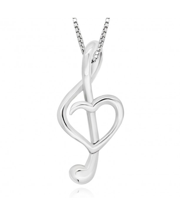 5efe77fd841d5c 925 Sterling Silver Heart Music Note Pendant Necklace- 18