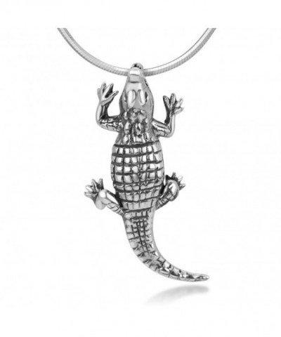 Oxidized Sterling Crocodile Alligator Necklace