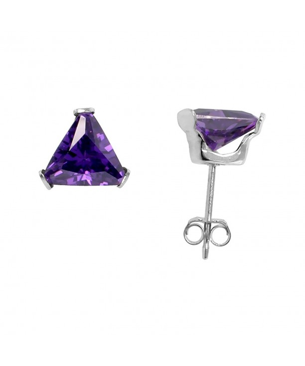 Sterling Silver Zirconia Triangle Amethyst
