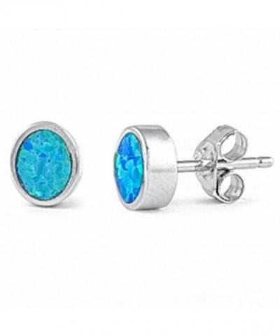 Created Studs Sterling Silver Earrings