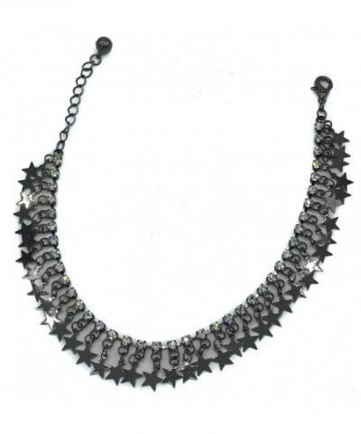Oxidize Finish Dangling Rhinestone Bracelet