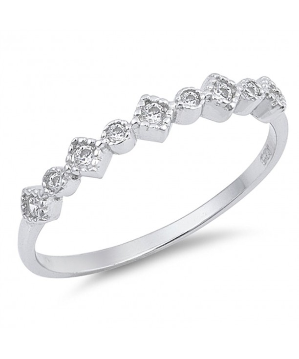 White Beautiful Stackable Sterling Silver