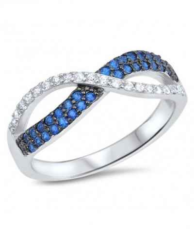 Infinity Simulated Sapphire Sterling Silver