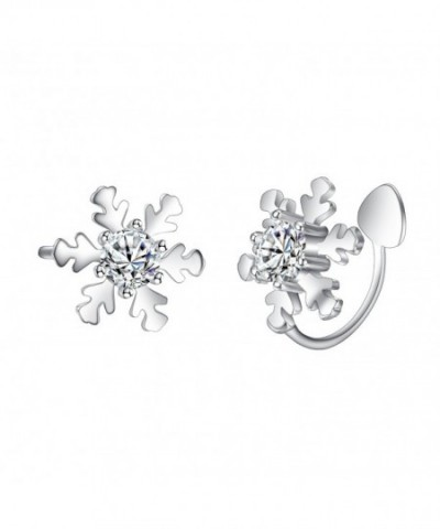 EleQueen Sterling Snowflake Crawlers Earrings