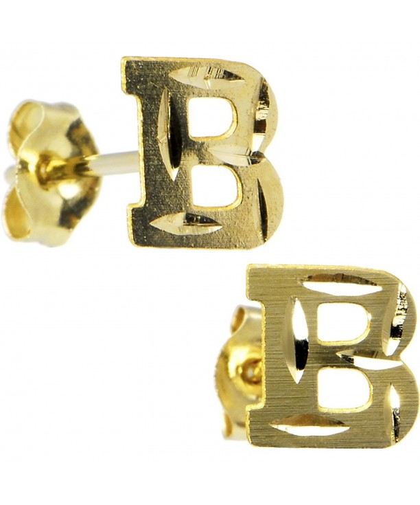 Yellow Gold Initial Stud Earrings
