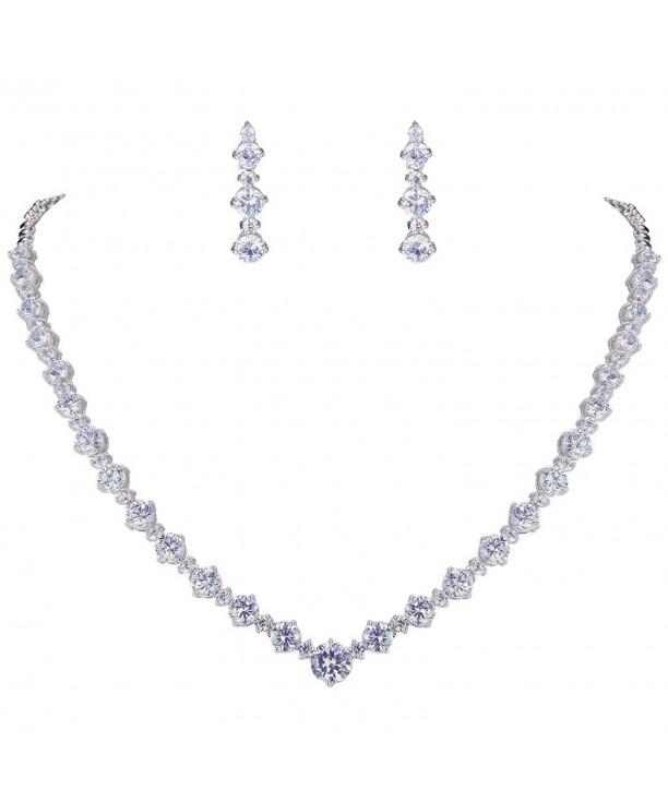 EVER FAITH Silver Tone Necklace Earrings