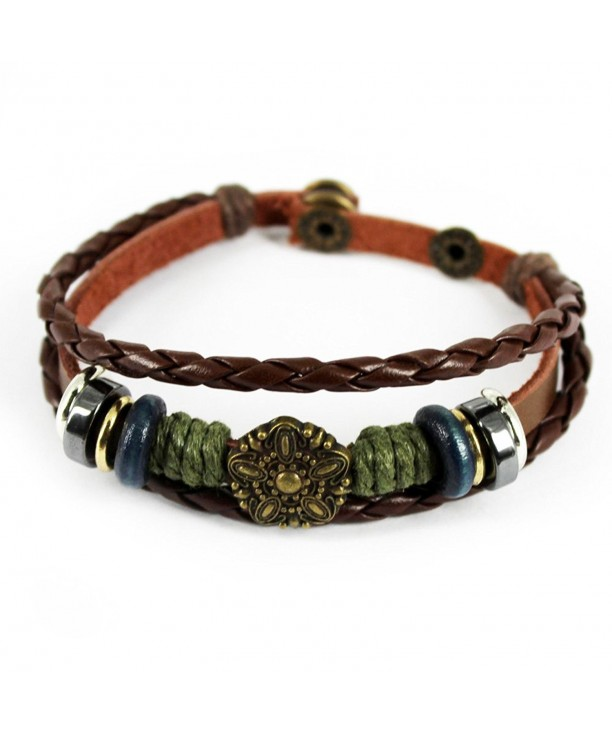 Unique Braided Leather Adjustable Bracelet