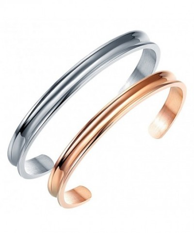 Liuanan Stainless Couples Bracelets Curved