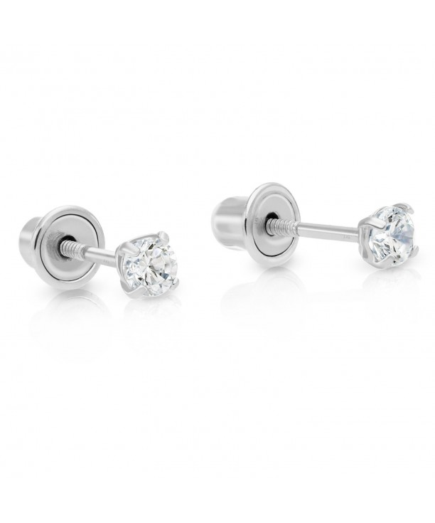14k White Gold Cubic Zirconia Stud Earrings With Backs 2 5mm Cq12bludqf5