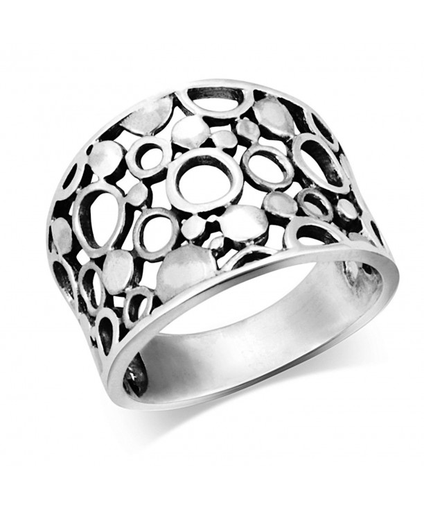 Sterling Silver Wide Band Geometric