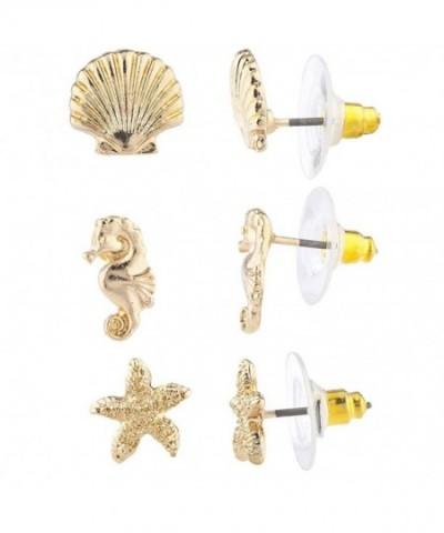 Lux Accessories Seashell Seahorse Starfish